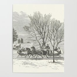 Vintage christmas poster from the 1800s horses and sleigh Poster