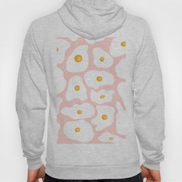 Funny trendy hand drawn fried eggs pattern pink pastel Hoody