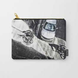 Shadow of a bicyclist on the asphalt Carry-All Pouch