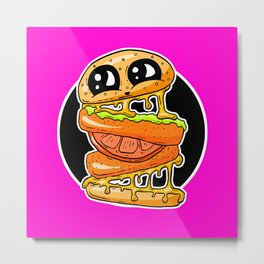 Fast Food FRENZY - Cheezy Vegan Vegetarian Vicky Burger Metal Print