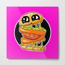Fast Food FRENZY - Cheezy Vegan Vegetarian Vicky Burger Metal Print