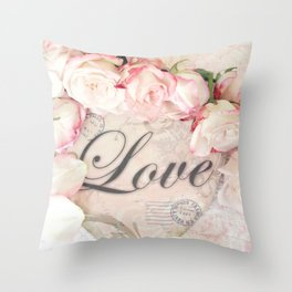 Shabby Chic Love Roses Romantic Decor Throw Pillow