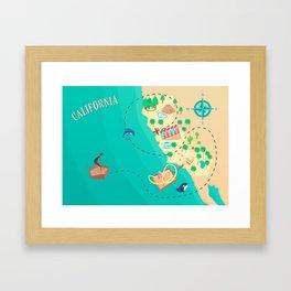 California Treasure Map Framed Art Print