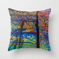 chaos Throw Pillows featuring Chaos by Claire Doherty