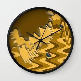 Shades of Brown Waves Wall Clock