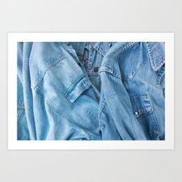 Denim jacket and shirt Art Print