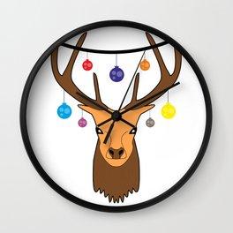 Merry christmas Reindeer #society6 #decor #buyart #artprint Wall Clock