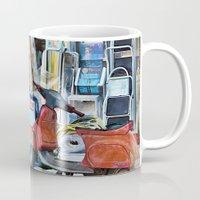 greek Mugs featuring Greek Street by Teresa Pople