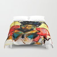 basquiat Duvet Covers featuring Basquiat by Ruby Chavez
