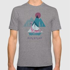 Adventure LARGE Tri-Grey Mens Fitted Tee