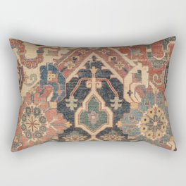 Geometric Leaves I // 18th Century Distressed Red Blue Green Colorful Ornate Accent Rug Pattern Rectangular Pillow