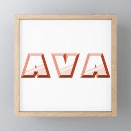 """AVA"" first name red pattern Framed Mini Art Print"