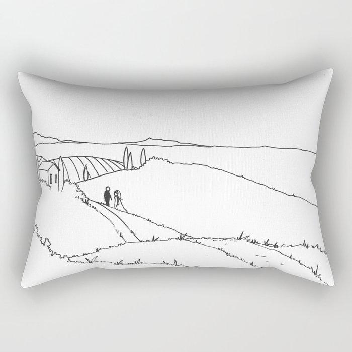 Sun on toscany landscape Rectangular Pillow