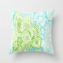 Blue Green Tangle Throw Pillow