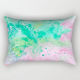 Watercolour abstract floral 3 Rectangular Pillow