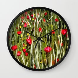 Red Poppies In A Cornfield Wall Clock