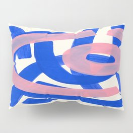 Tribal Pink Blue Fun Colorful Mid Century Modern Abstract Painting Shapes Pattern Pillow Sham