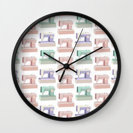 Retro Sewing Machine Pink, Mint and Lavender Wall Clock