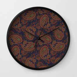 Meredith Paisley - Indigo Blue Wall Clock