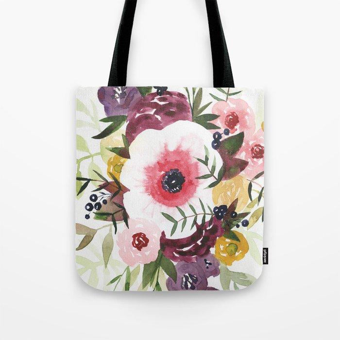 Burgundy Blush Watercolor Floral Tote Bag