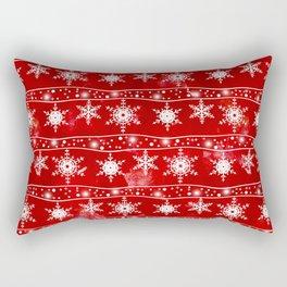Openwork white snowflakes on red Rectangular Pillow