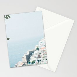 Positano landscape with white flowers Stationery Cards