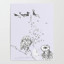Two Tailed Duck and Jellyfish Lavender Poster