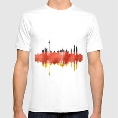 Berlin city silhouette. White MEDIUM Mens Fitted Tee