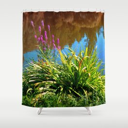 Flowers at the pond Shower Curtain