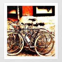 bikes Art Prints featuring bikes by Eva Lesko