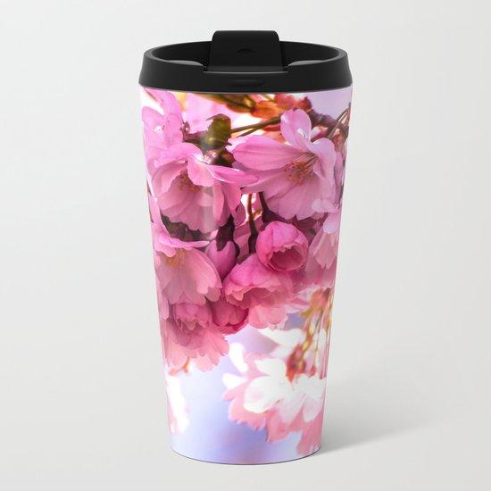 Pink Japanese Cherry Blossom, Sakura Metal Travel Mug