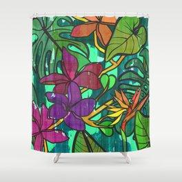Tropical leaves, jungle print Shower Curtain