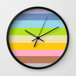 Retro Vintage Inspired Simple Colored Stripes - Pastels Wall Clock