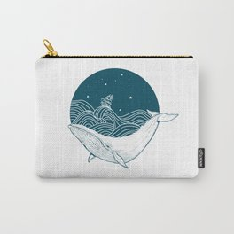 Minimalist Sperm Whale Art - Geometric Ocean Artwork - Boat Carry-All Pouch