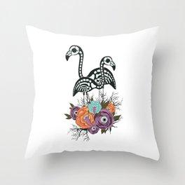 Flamingo Skeleton With Halloween Flowers Throw Pillow