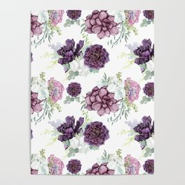 Succulents Deep Violet Lavender Pastel Green Lilac PatternSee Nature Magick for more pretty pastel c Poster