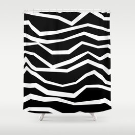 Wavy zig zag lines edgy black and white Shower Curtain