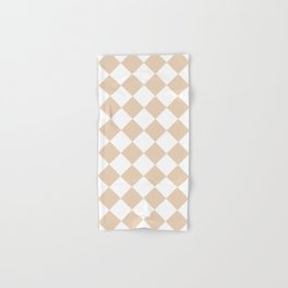Large Diamonds - White and Pastel Brown Hand & Bath Towel
