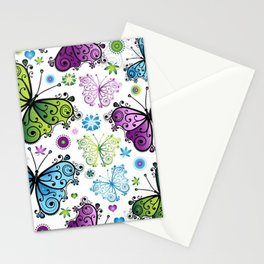 Colorful Butterflies and Flowers V4 Stationery Cards