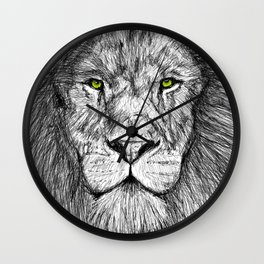 Lion with green eyes Wall Clock