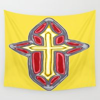 cross Wall Tapestries featuring Golden Cross by J&C Creations