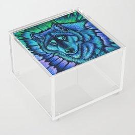 Blue Wolf Aurora Colorful Fantasy Acrylic Box