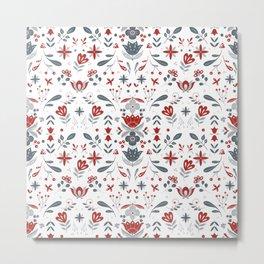 Scandinavian Folk Flower Pattern Metal Print