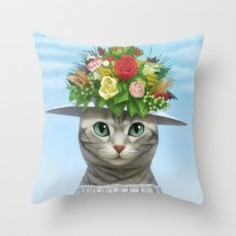 A cat wearing a flower hat Throw Pillow