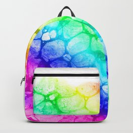 Watercolor rainbow abstract bubble splashing paint isolated on white background Backpack