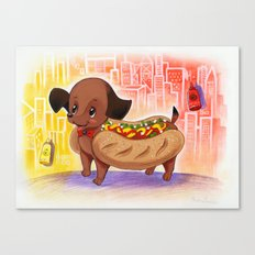 Hot Dog In the City Illustration Canvas Print