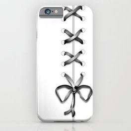 Laced Gray Ribbon on White iPhone Case