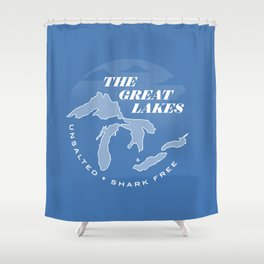 The Great Lakes - Unsalted & Shark Free (Inverse) Shower Curtain