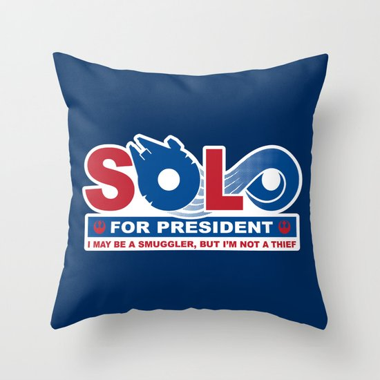 Solo for President Throw Pillow