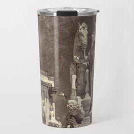 Sepia baroque sculptures in Lisbon Travel Mug